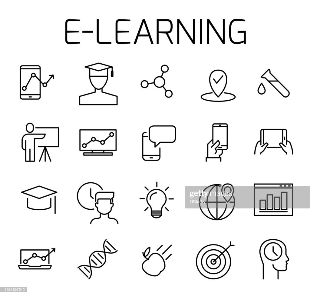 E-learning related vector icon set.