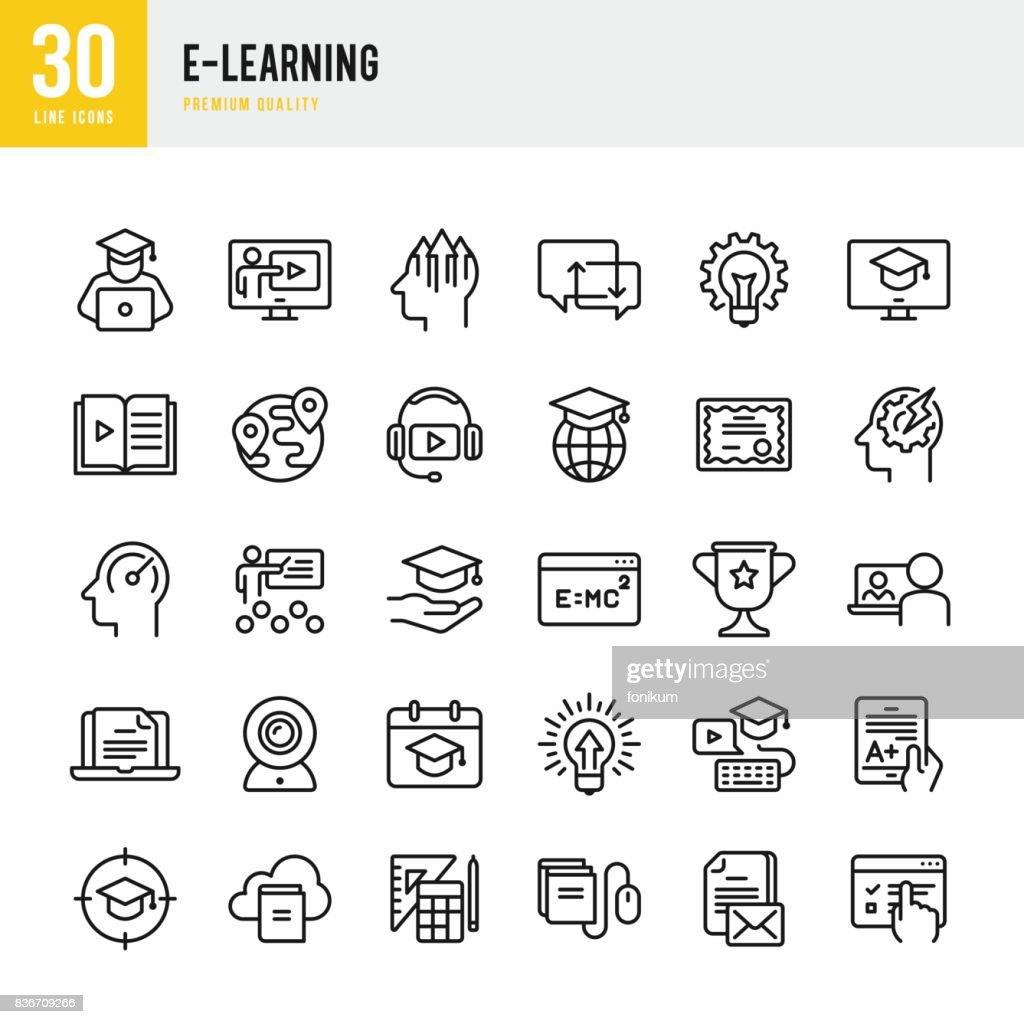 E ラーニング - 細い線ベクトルのアイコンを設定 : ストックイラストレーション