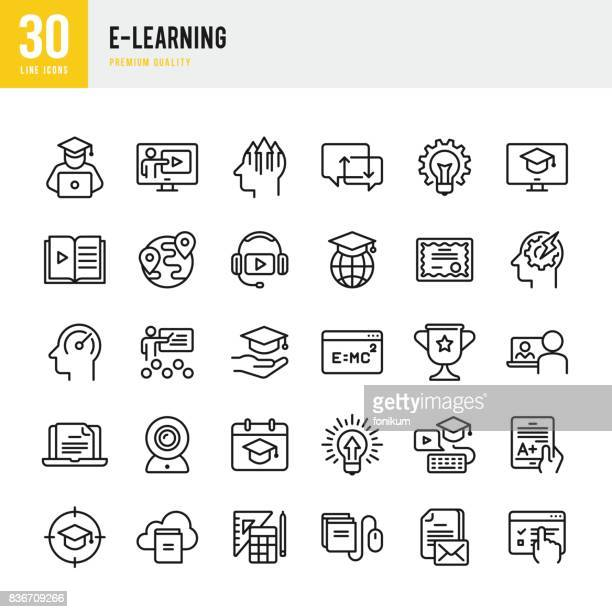 e-learning - set of thin line vector icons - showing stock illustrations