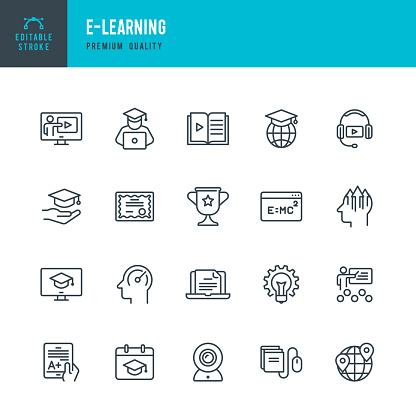 E-Learning - set of vector line icons - gettyimageskorea