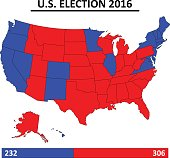 USA election 2016 map vector