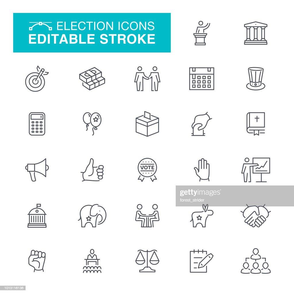 Election and Politics Line Icons : stock illustration
