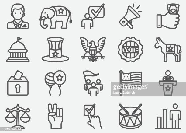 usa election and politics line icons - us republican party stock illustrations, clip art, cartoons, & icons