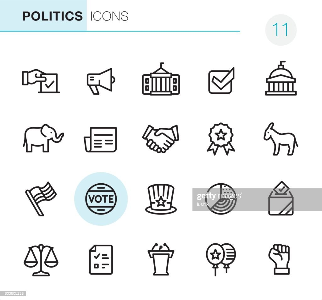 Election and Politics - Pixel Perfect icons : stock illustration