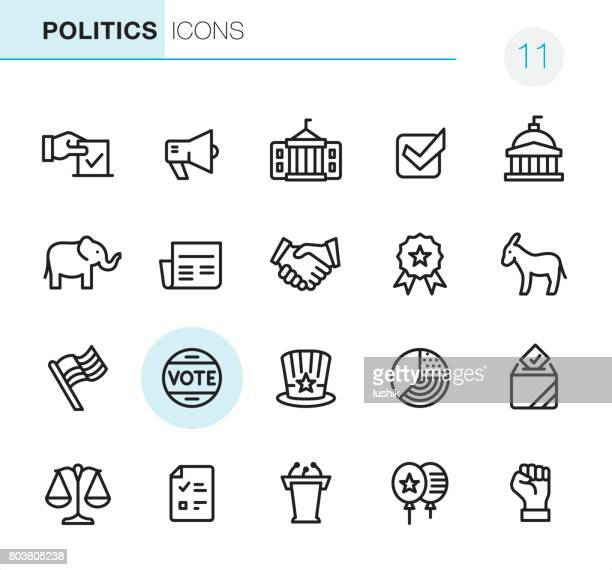 stockillustraties, clipart, cartoons en iconen met verkiezingen en politiek - pixel perfect pictogrammen - democratie