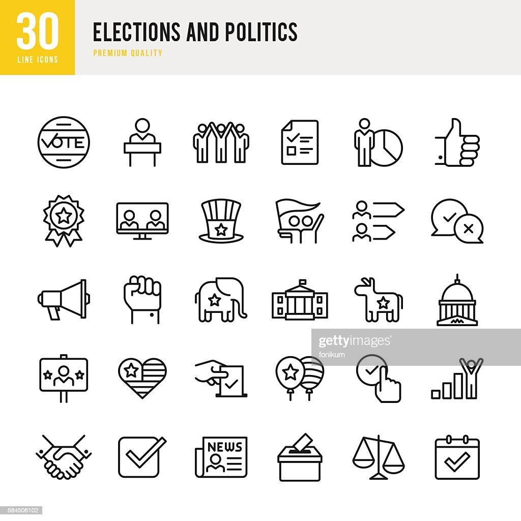Election and Politics - Thin Line Icon Set : Stock-Illustration