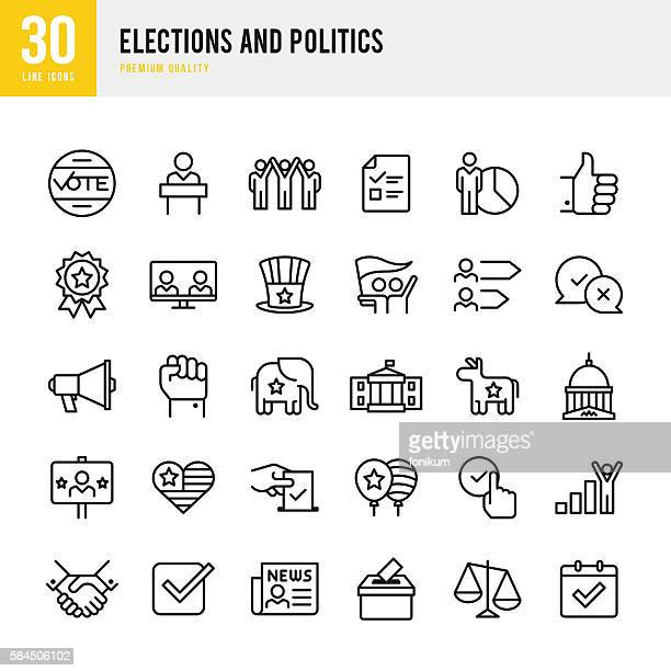 illustrazioni stock, clip art, cartoni animati e icone di tendenza di election and politics - thin line icon set - culture