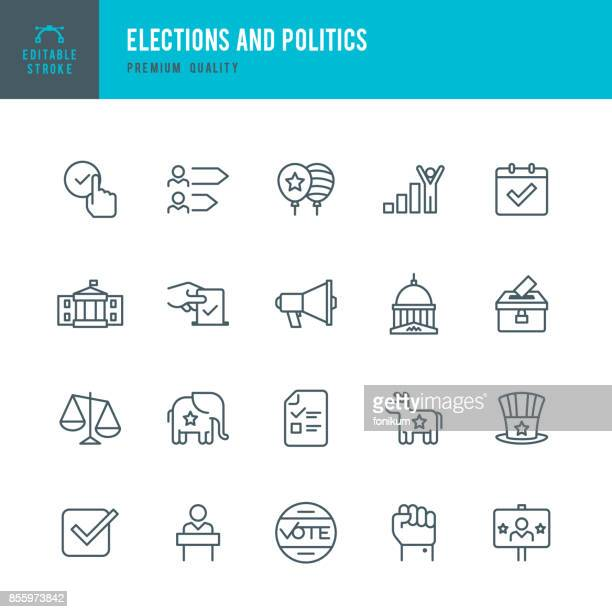 election and politics  - thin line icon set - scales stock illustrations