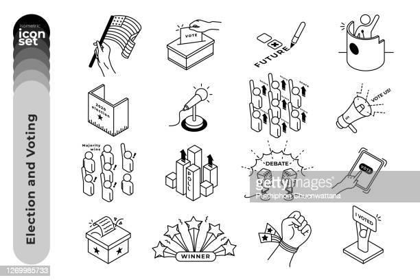 wahl und abstimmung outline icon set auf weißem hintergrund. vektor-stock-illustration. - politische partei stock-grafiken, -clipart, -cartoons und -symbole