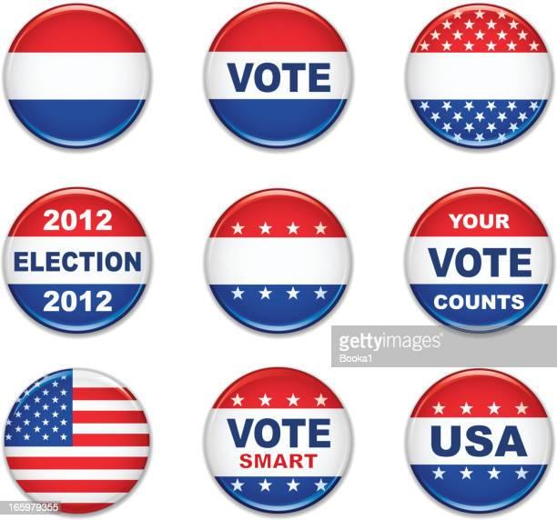 us election badge set - voting stock illustrations