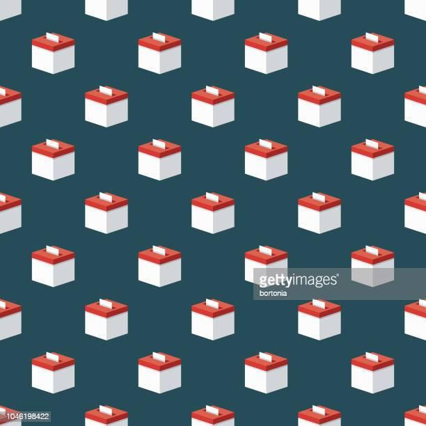ilustraciones, imágenes clip art, dibujos animados e iconos de stock de patrones sin fisuras de la urna electoral - urna de voto