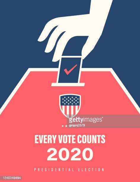 2020 usa election banner - voter registration stock illustrations