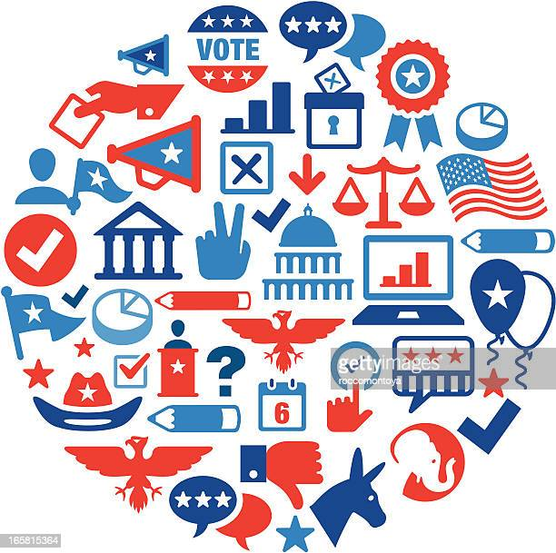 election concept color - political rally stock illustrations, clip art, cartoons, & icons