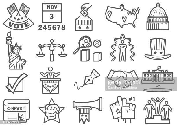 ilustrações, clipart, desenhos animados e ícones de ícones do dia da eleição dos eua definidos - presidente