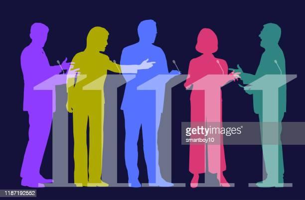 tv-wahldebatte - politische partei stock-grafiken, -clipart, -cartoons und -symbole