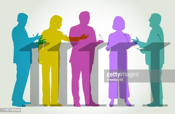 illustrazioni stock, clip art, cartoni animati e icone di tendenza di tv election debate - politics