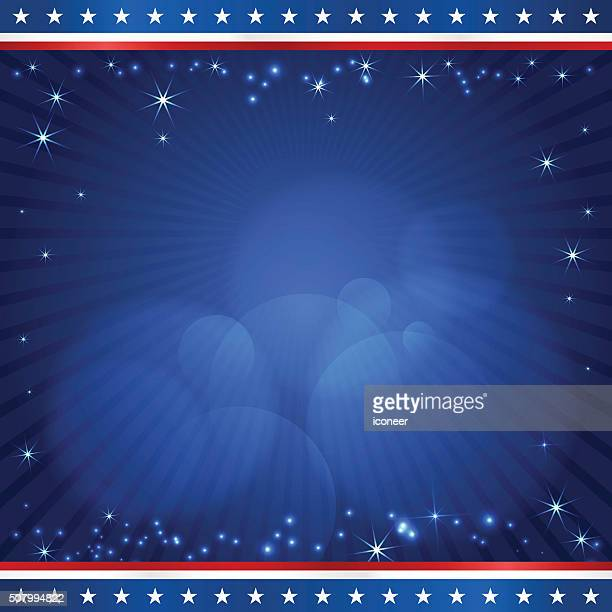 USA election design square template on dark blue rays background