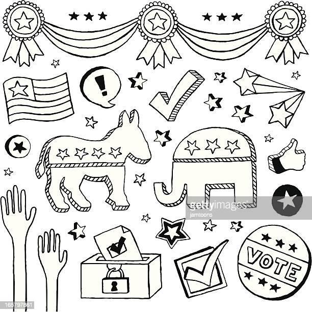 election doodles - politics illustration stock illustrations