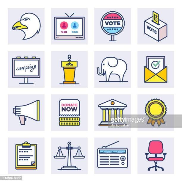 wahl-& wahlausgang flat line style vector icon set - senat stock-grafiken, -clipart, -cartoons und -symbole