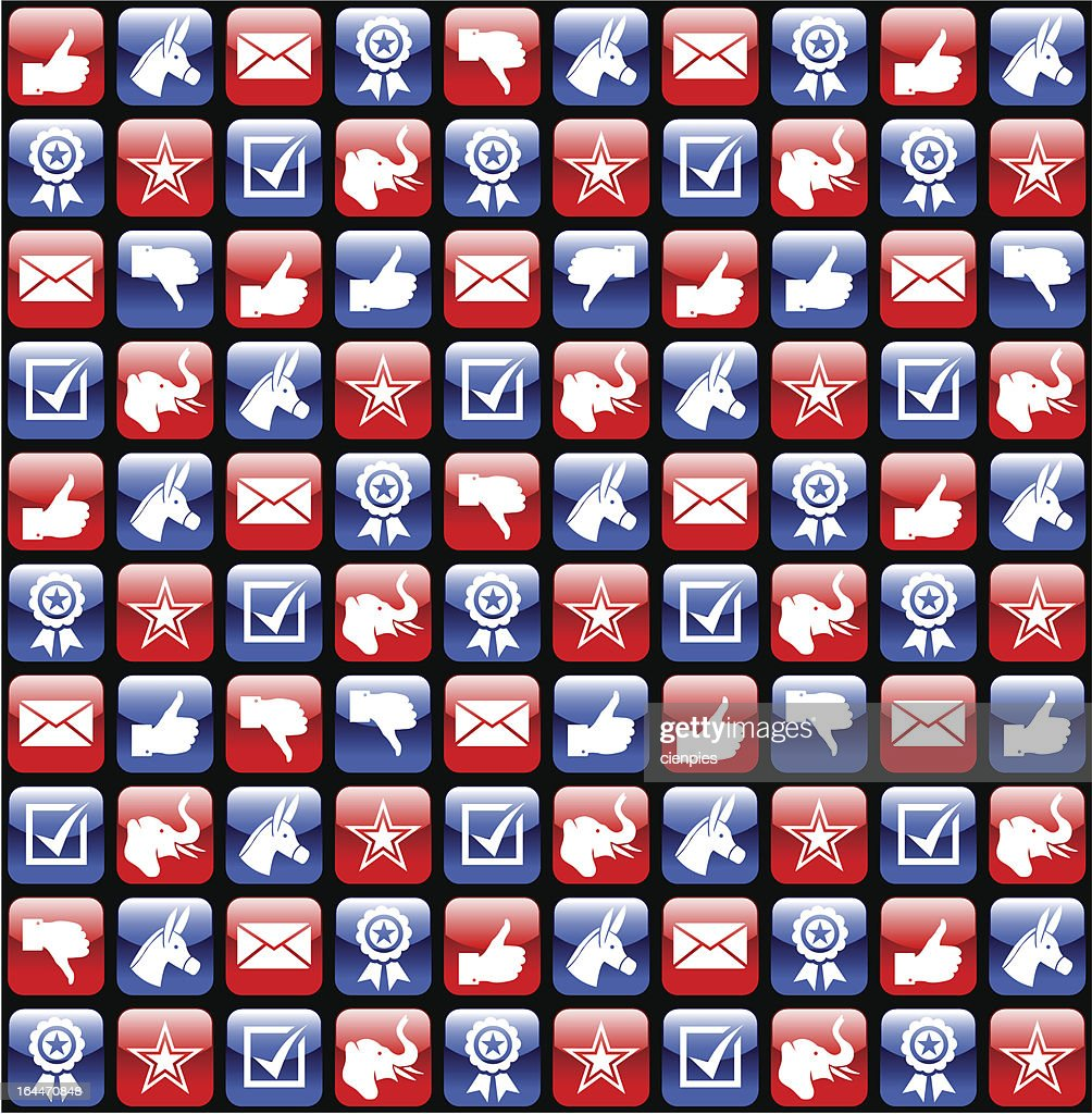 USA election glossy icons pattern