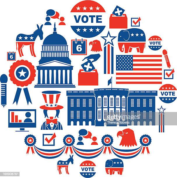 stockillustraties, clipart, cartoons en iconen met us election icon set - democratie