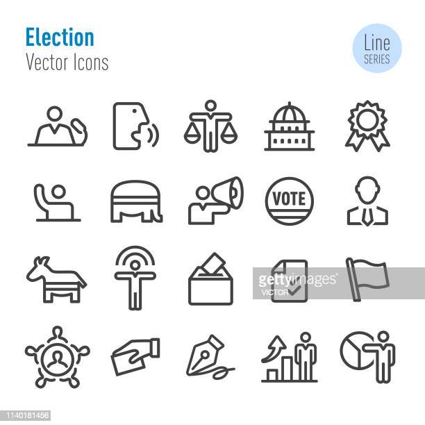 election icons - vector line series - voting ballot stock illustrations