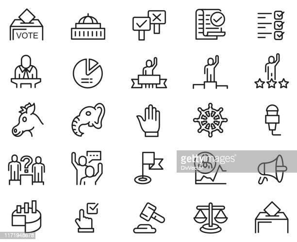 illustrazioni stock, clip art, cartoni animati e icone di tendenza di set di icone della linea elettorale - parlamento