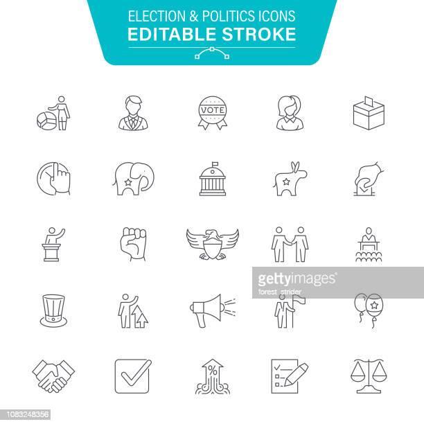 election line icons - politics icon stock illustrations