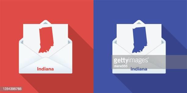 ilustraciones, imágenes clip art, dibujos animados e iconos de stock de correo electoral de ee.uu. en votación: indiana - indiana