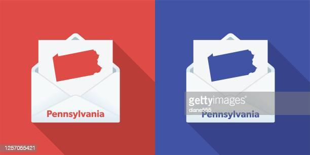 usa election mail in voting: pennsylvania - pennsylvania stock illustrations