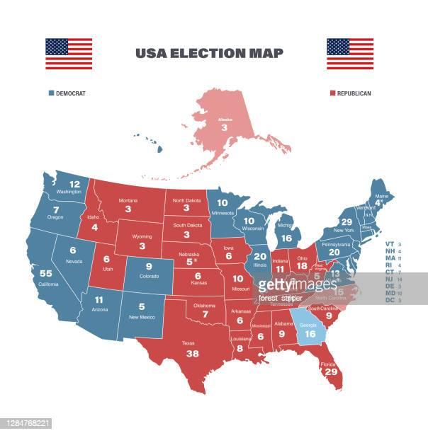 usa election map 2020 - partisan politics stock illustrations