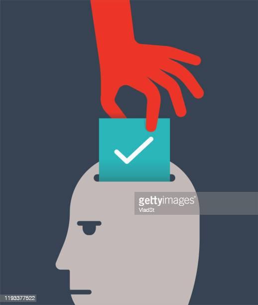 illustrazioni stock, clip art, cartoni animati e icone di tendenza di election meddling ballot box rigged voting politics concept illustration - estremismo