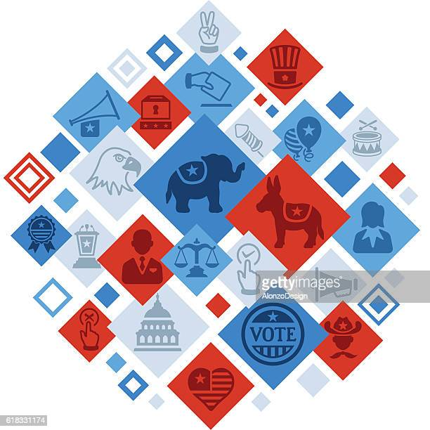 usa election montage - us republican party stock illustrations, clip art, cartoons, & icons