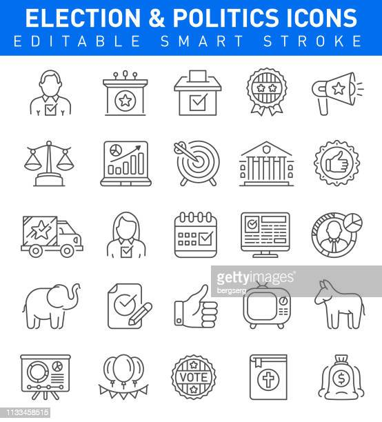 election & politics icons. editable stroke collection - president stock illustrations, clip art, cartoons, & icons
