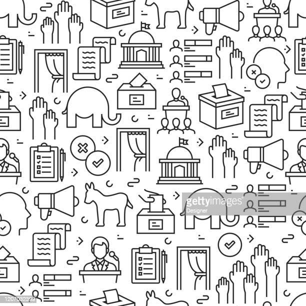 election related seamless pattern and background with line icons. editable stroke - political party stock illustrations