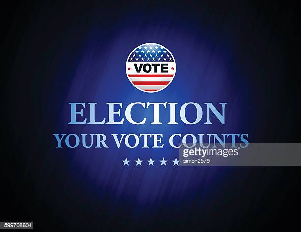 usa election vote button with blue color background - voting ballot stock illustrations
