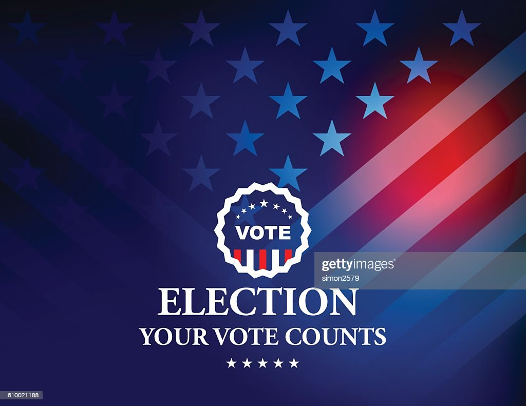 USA Election Vote Button with Stars and Stripes background