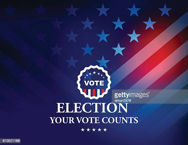 usa election vote button with stars and stripes background - election voting stock illustrations