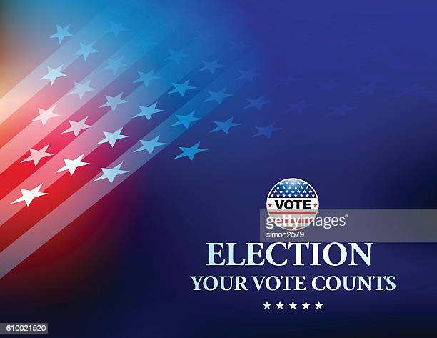 usa election vote button with stars and stripes background - politics abstract stock illustrations