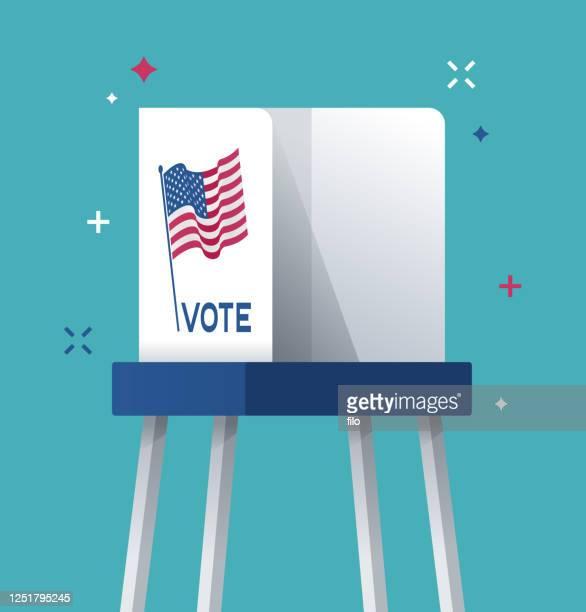 illustrazioni stock, clip art, cartoni animati e icone di tendenza di cabina elettorale - referendum