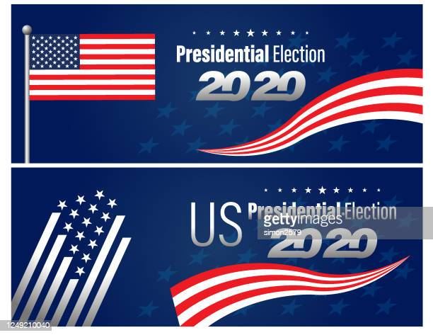 2020 usa election with stars and stripes background banner - presidential election stock illustrations