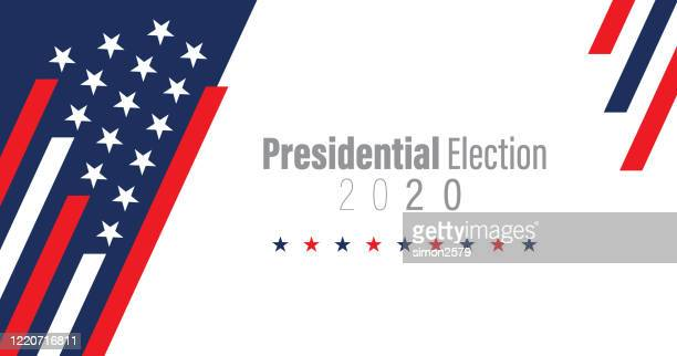 2020 usa election with stars and stripes background - american culture stock illustrations