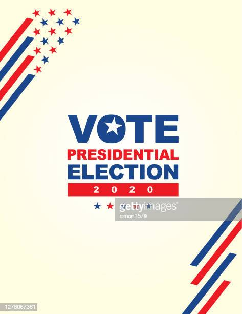 2020 usa election with stars and stripes background - presidential candidate stock illustrations