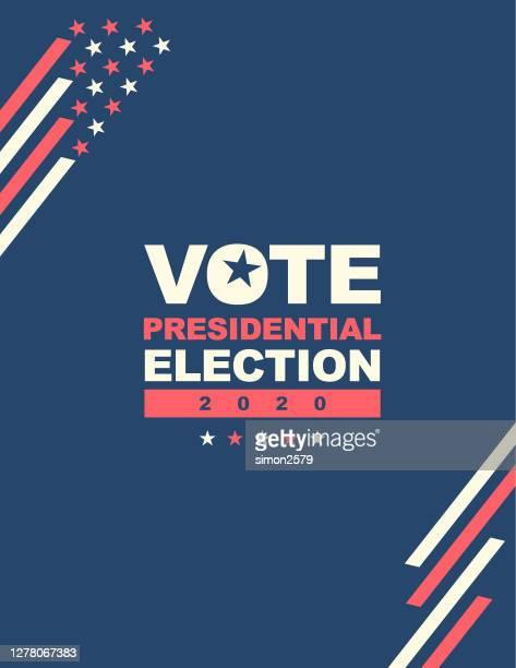 usa-wahl 2020 mit stars und streifen hintergrund - presidential candidate stock-grafiken, -clipart, -cartoons und -symbole