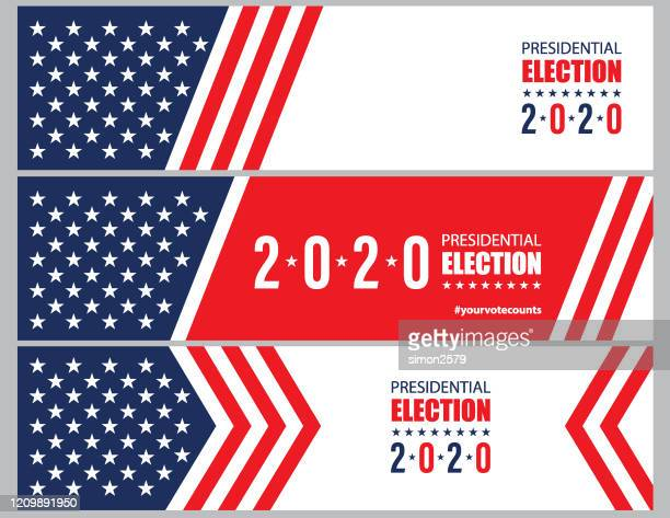 2020 usa election with stars and stripes banner background - election stock illustrations