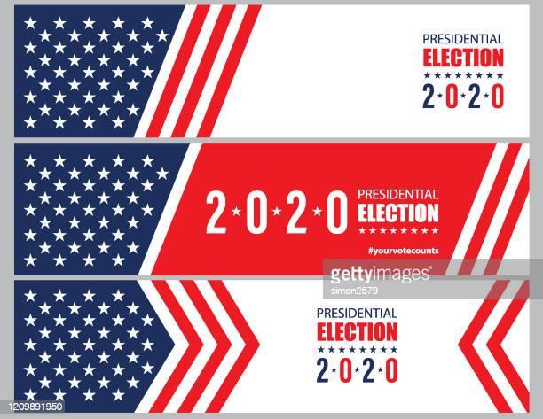 usa-wahl 2020 mit stars und streifen banner hintergrund - politische wahl stock-grafiken, -clipart, -cartoons und -symbole