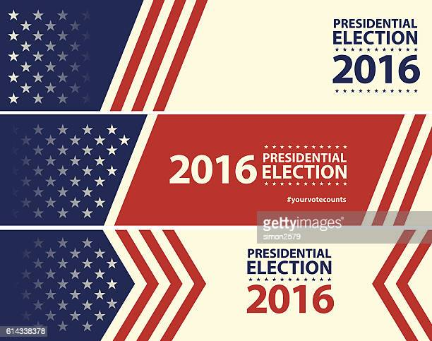 stockillustraties, clipart, cartoons en iconen met usa election with stars and stripes banner background - presidentskandidaat