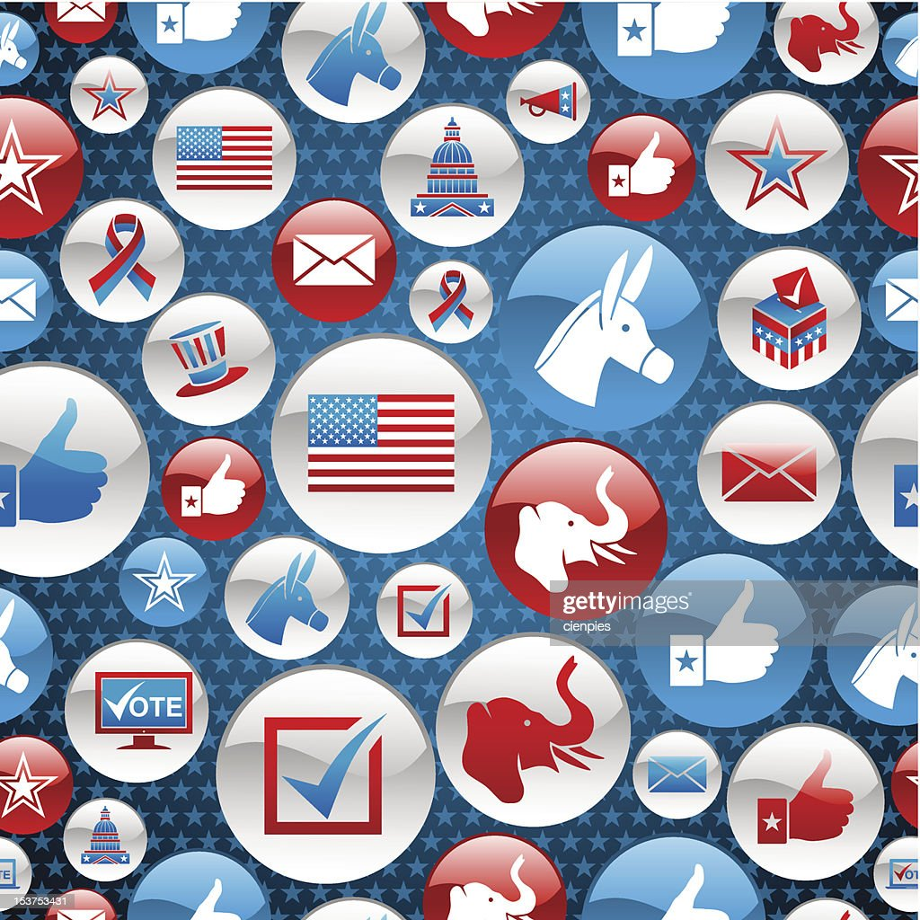 USA elections campaign icons set pattern