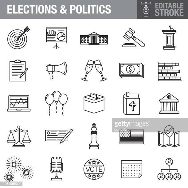 米国選挙編集可能ストロークアイコンセット - ファンドレイジング点のイラスト素材/クリップアート素材/マンガ素材/アイコン素材