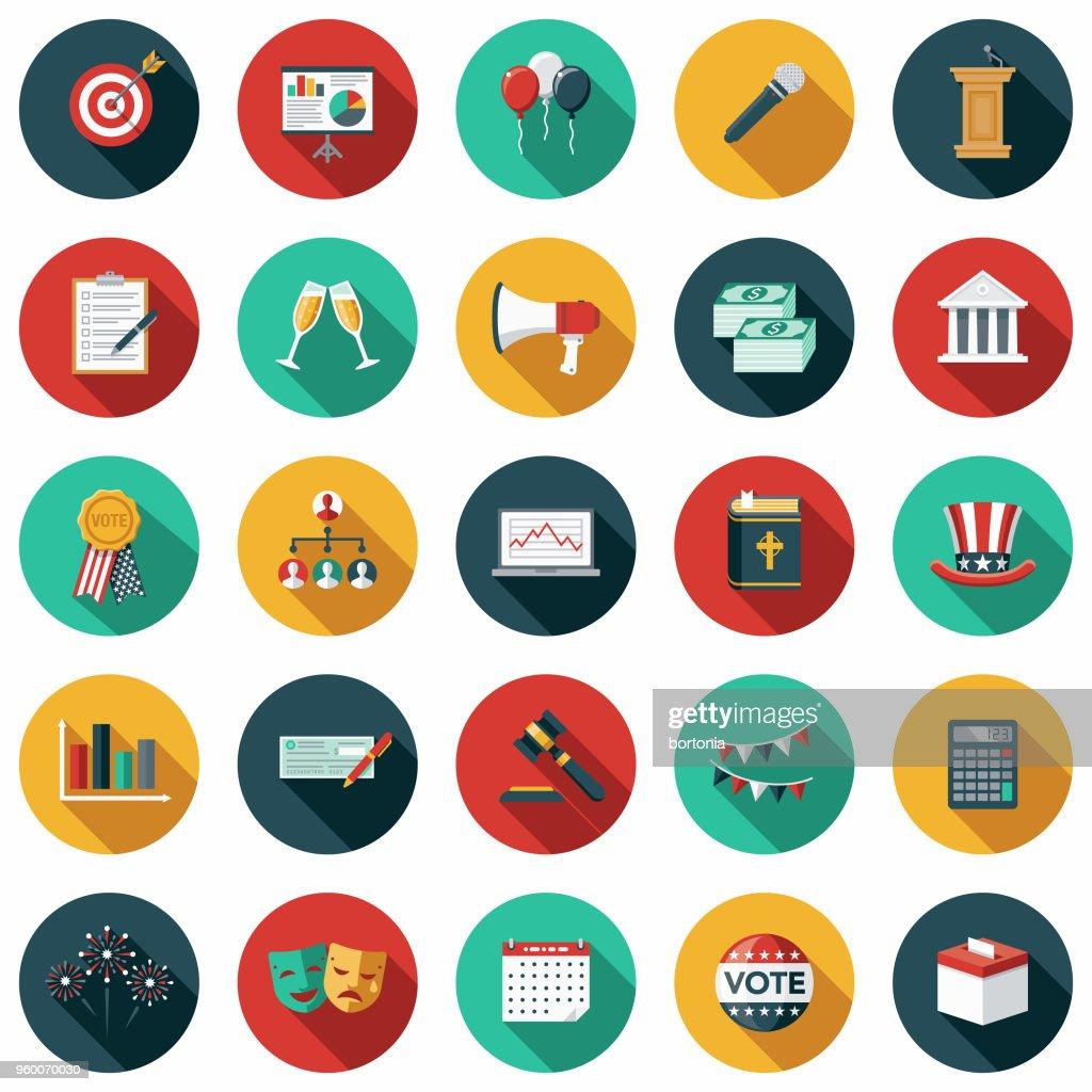 Wahlen-flaches Design-Icon-Set mit Seite Schatten : Stock-Illustration